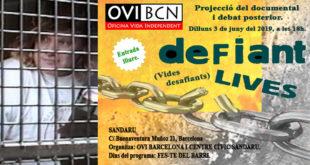 Cartel anunciador de la proyección de 'Defiant lives'