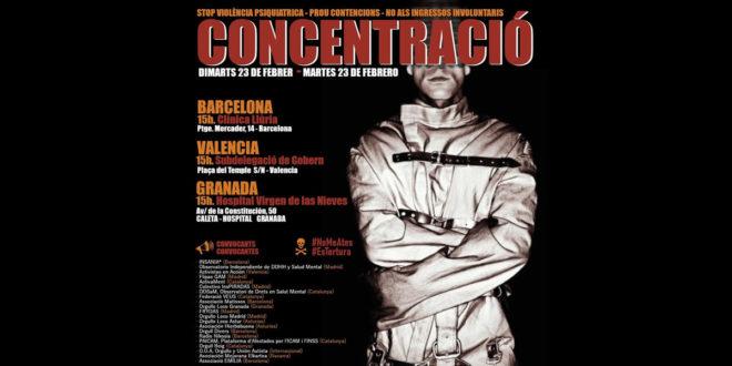 Concentració: Stop violència psiquiatrica prou contencions no als ingressos involuntaris