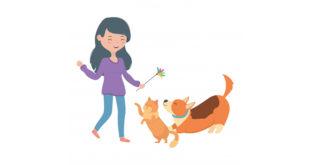 Ilustración de una mujer joven jugando con un perro y un gato